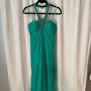 Turquoise strapless beaded formal dress